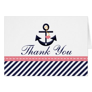 Beach Themed Pink Navy Nautical Anchor Thank You Notes Cards