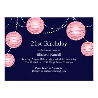 Pink & Navy Party Lantern 21st Birthday Invite