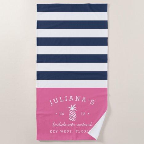 Pink & Navy Personalized Bachelorette Weekend Beach Towel
