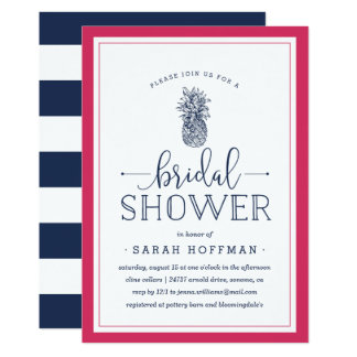 Pink & Navy Pineapple Bridal Shower Invitation