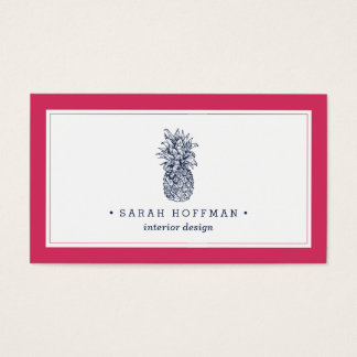 Pink & Navy Pineapple Business Card
