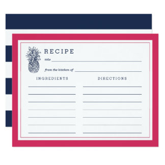 Pink & Navy Pineapple Recipe Card