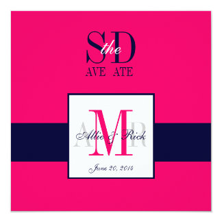 Pink Navy Save the Date Wedding Announcement