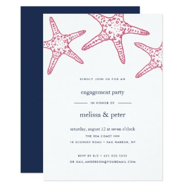 Beach Themed Pink & Navy Starfish Engagement Party Invitation