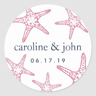 Beach Themed Pink & Navy Starfish Personalized Wedding Classic Round Sticker