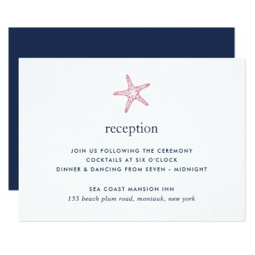 Beach Themed Pink & Navy Starfish Reception Card