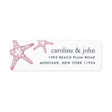 Beach Themed Pink & Navy Starfish Return Address Label