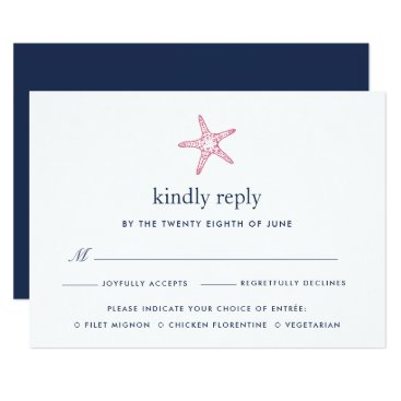 Beach Themed Pink & Navy Starfish RSVP Card w/ Meal Choice
