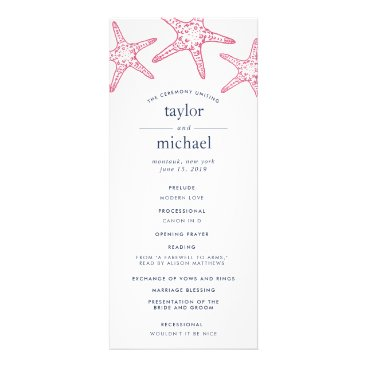 Beach Themed Pink & Navy Starfish Wedding Ceremony Program