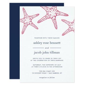 Beach Themed Pink & Navy Starfish Wedding Invitation