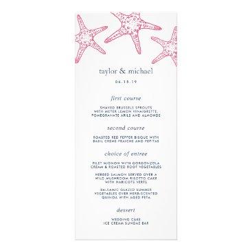 Beach Themed Pink & Navy Starfish Wedding Menu Card