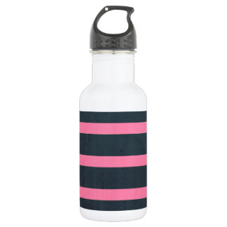 pink & navy stripes water bottle