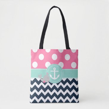 Beach Themed Pink Navy Teal Whale Tote Bag