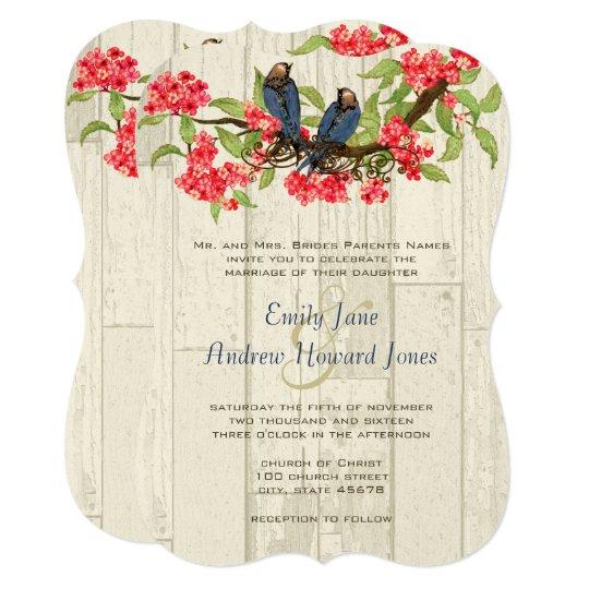 Pink Navy Vintage Love Birds Barn Wood Card