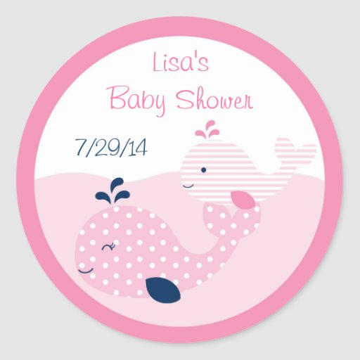 Pink & Navy Whale Baby Shower Classic Round Sticker