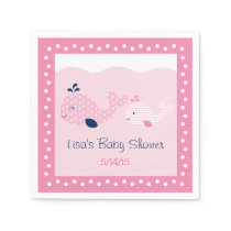 Pink & Navy Whale Baby Shower Paper Napkin