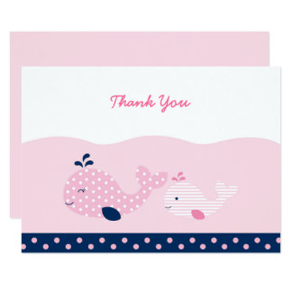 Pink & Navy Whale Baby Shower Thank You Card