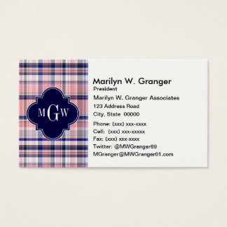 Pink Navy White Preppy Madras Quatrefoil Monogram Business Card