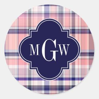 Pink Navy White Preppy Madras Quatrefoil Monogram Classic Round Sticker