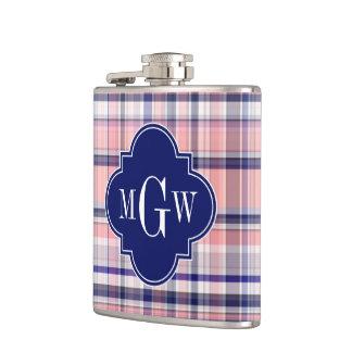 Pink Navy White Preppy Madras Quatrefoil Monogram Flasks