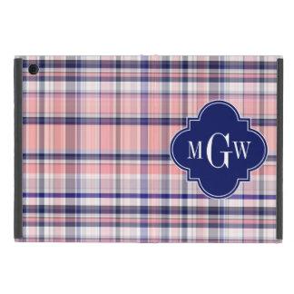 Pink Navy White Preppy Madras Quatrefoil Monogram iPad Mini Covers