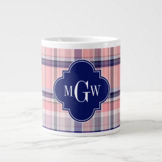 Pink Navy White Preppy Madras Quatrefoil Monogram Jumbo Mug