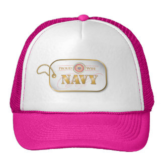 Pink Navy Wife Dog Tag Trucker Hat