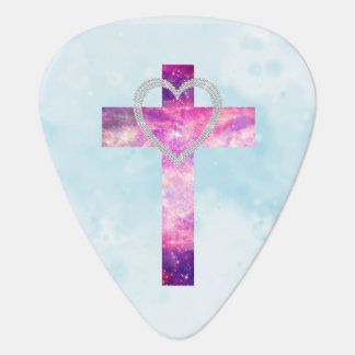 Pink Nebula Cross White Glitter Heart Photo Print Guitar Pick