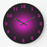 "Pink Neon 10.75"" Large Clock at Zazzle"