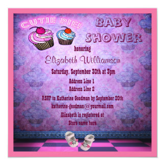 Pink Neon Cupcakes & Baby Shoes Baby Shower 5.25x5.25 Square Paper Invitation Card