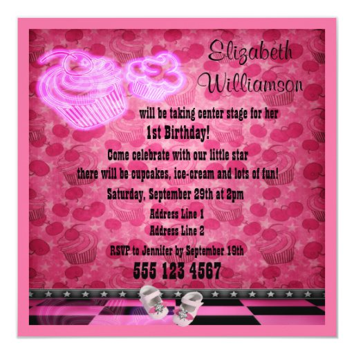 Pink Neon Cupcakes & Baby Shoes Birthday Party Invitation
