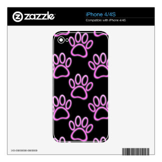 Pink Neon Dog Paw Print iPhone 4 Decal