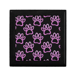 Pink Neon Dog Paw Print Jewelry Box