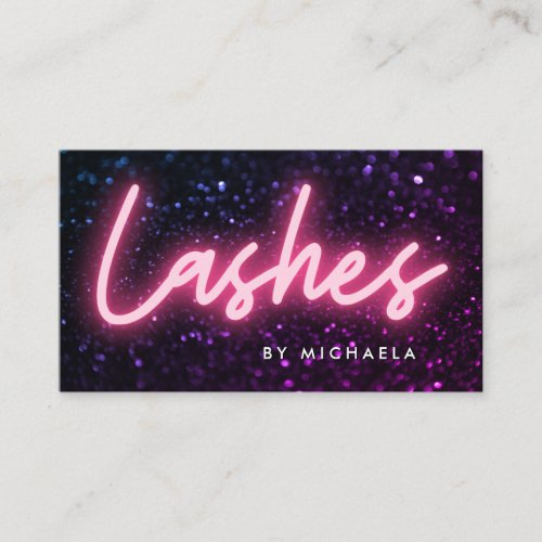 Pink Neon  Glitter Lash Extensions Business Card