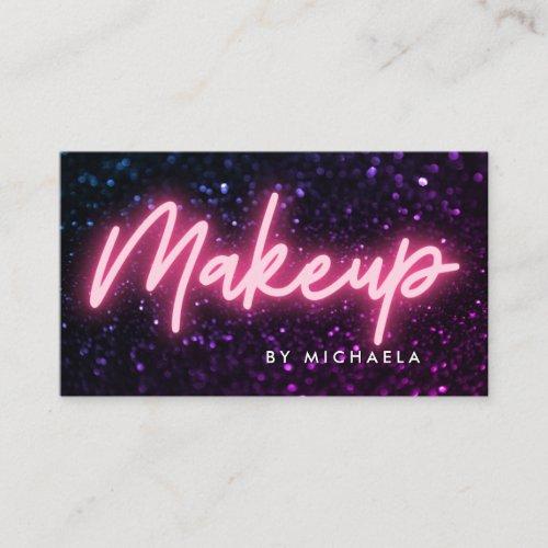 Pink Neon  Glitter Makeup Artist Business Card