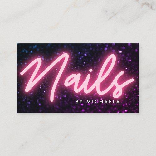 Pink Neon  Glitter Nail SalonTechnician Business Card