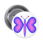 Pink Neon Hearts Butterfly Button