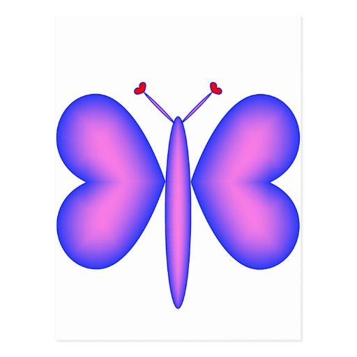 Pink Neon Hearts Butterfly Postcard