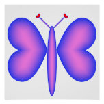 Pink Neon Hearts Butterfly Posters