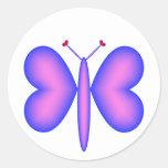 Pink Neon Hearts Butterfly Sticker