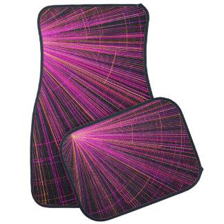 Pink neon light floor mat