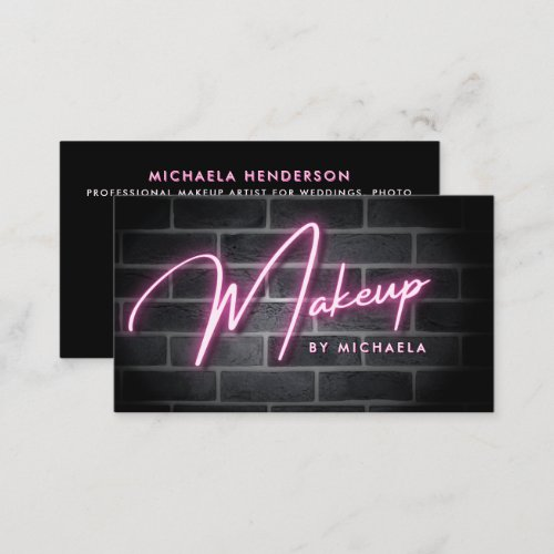 Pink Neon Makeup Sign On Brick Wall Business Card