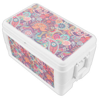 Pink neon Paisley floral pattern Cooler