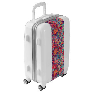 Pink neon Paisley floral pattern Luggage