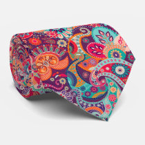 Pink neon Paisley floral pattern Neck Tie