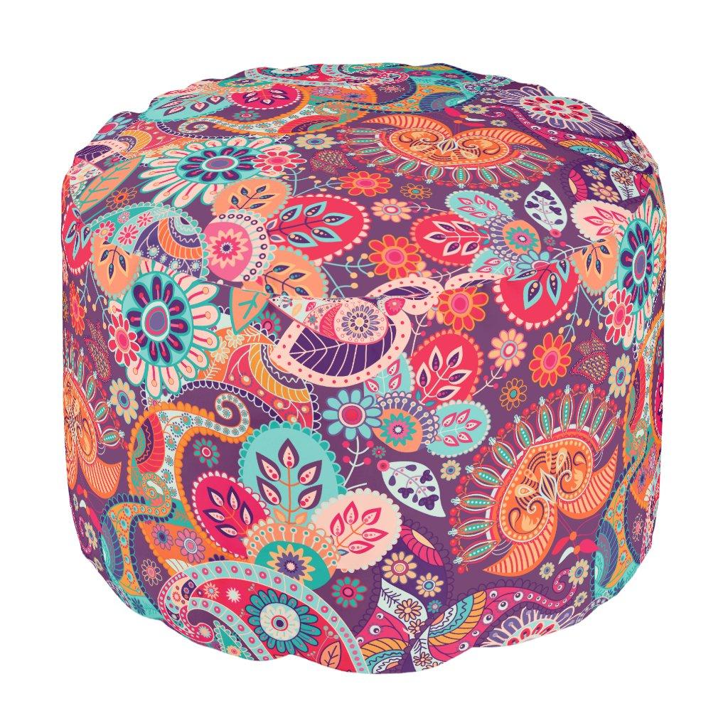 Pink neon Paisley floral pattern Pouf