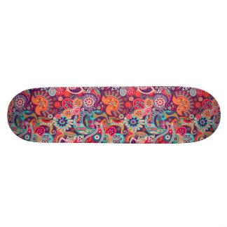Pink neon Paisley floral pattern Skateboard