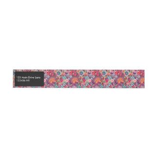 Pink neon Paisley floral pattern Wrap Around Address Label