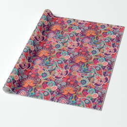 Pink neon Paisley floral pattern Wrapping Paper