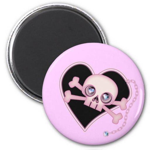 Pink Neon Skull 2 Inch Round Magnet
